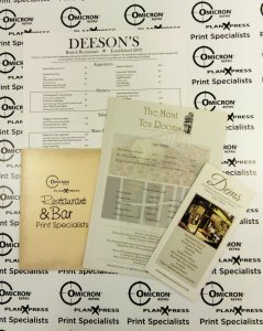 Digital printed menus
